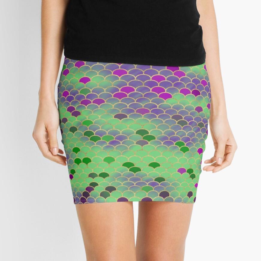 Green and Purple Mermaid Scales Mini Skirt