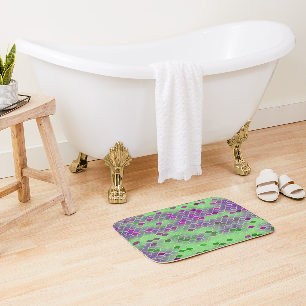 Green and Purple Mermaid Scales Bath Mat