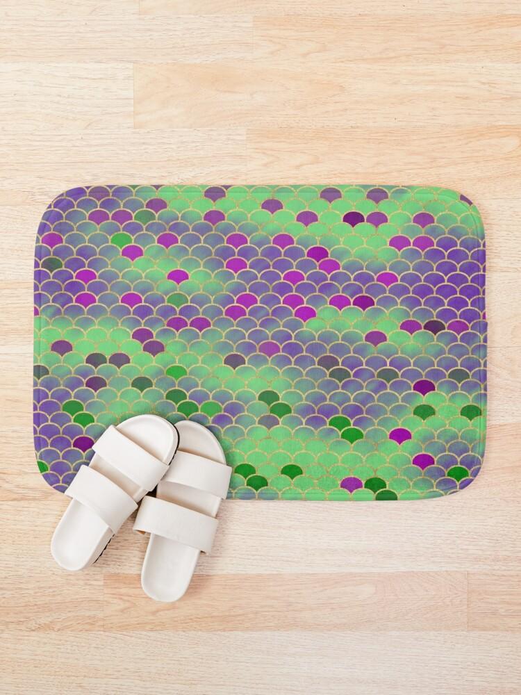 Alternate view of Green and Purple Mermaid Scales Bath Mat