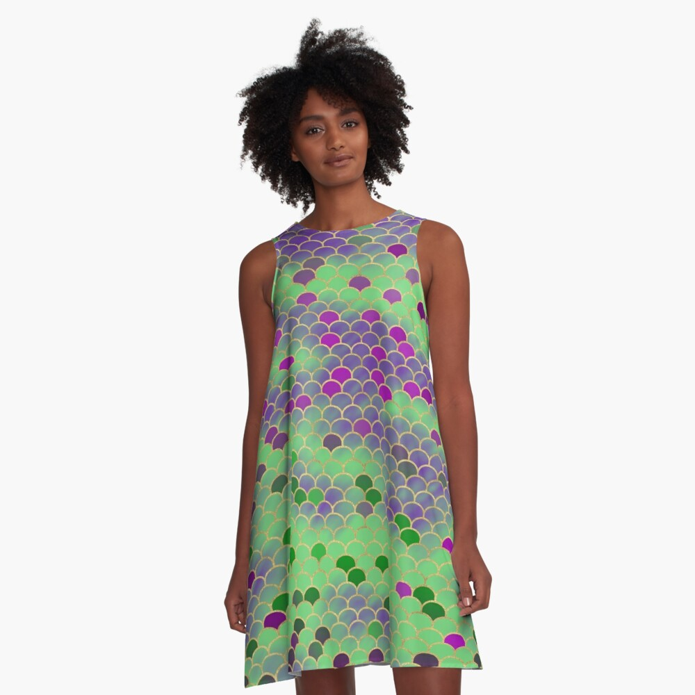 Green and Purple Mermaid Scales A-Line Dress