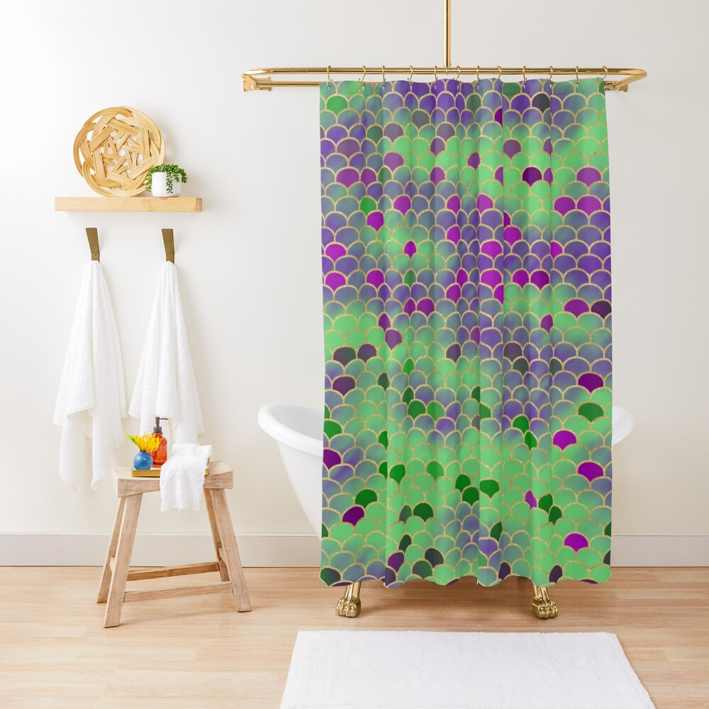 Green and Purple Mermaid Scales Shower Curtain