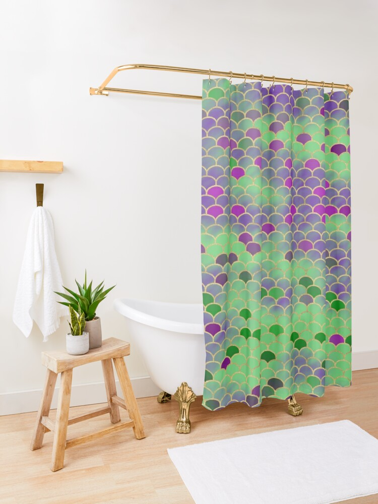 Alternate view of Green and Purple Mermaid Scales Shower Curtain