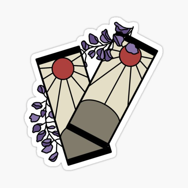 Tanjiro's Earrings With Wisteria- Colored Sticker