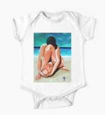 Alone With My Thoughts Nude Female Figure Beach Ocean One Piece - Short Sleeve