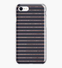 Elegant Chic Rose Gold Stripes and Navy Blue iPhone Case/Skin