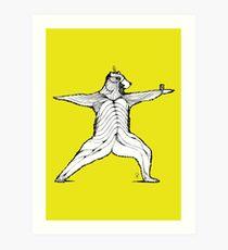 Yogi bear pose - Warrior 2  Art Print