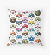 Pokemon Pokeball White Throw Pillow