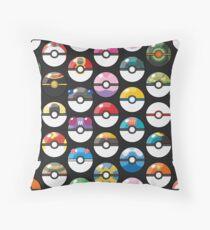 Pokemon Pokeball Black Throw Pillow