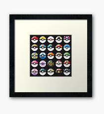 Pokemon Pokeball Black Framed Print