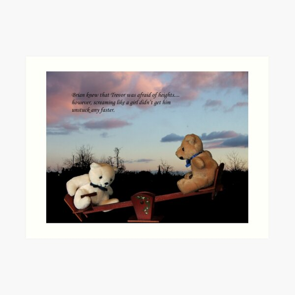 Trevor and Brian in seesaw calamity.... Art Print