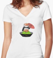 Sushi Rider // I can't stop eating TIRES ! Women's Fitted V-Neck T-Shirt