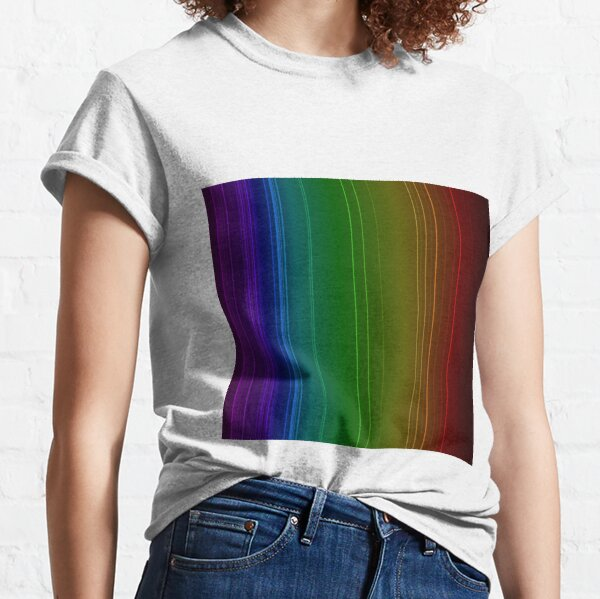 Emission spectrum of oxygen. When an electrical discharge is passed through a substance, its atoms and molecules absorb energy, which is reemitted as EM radiation Classic T-Shirt