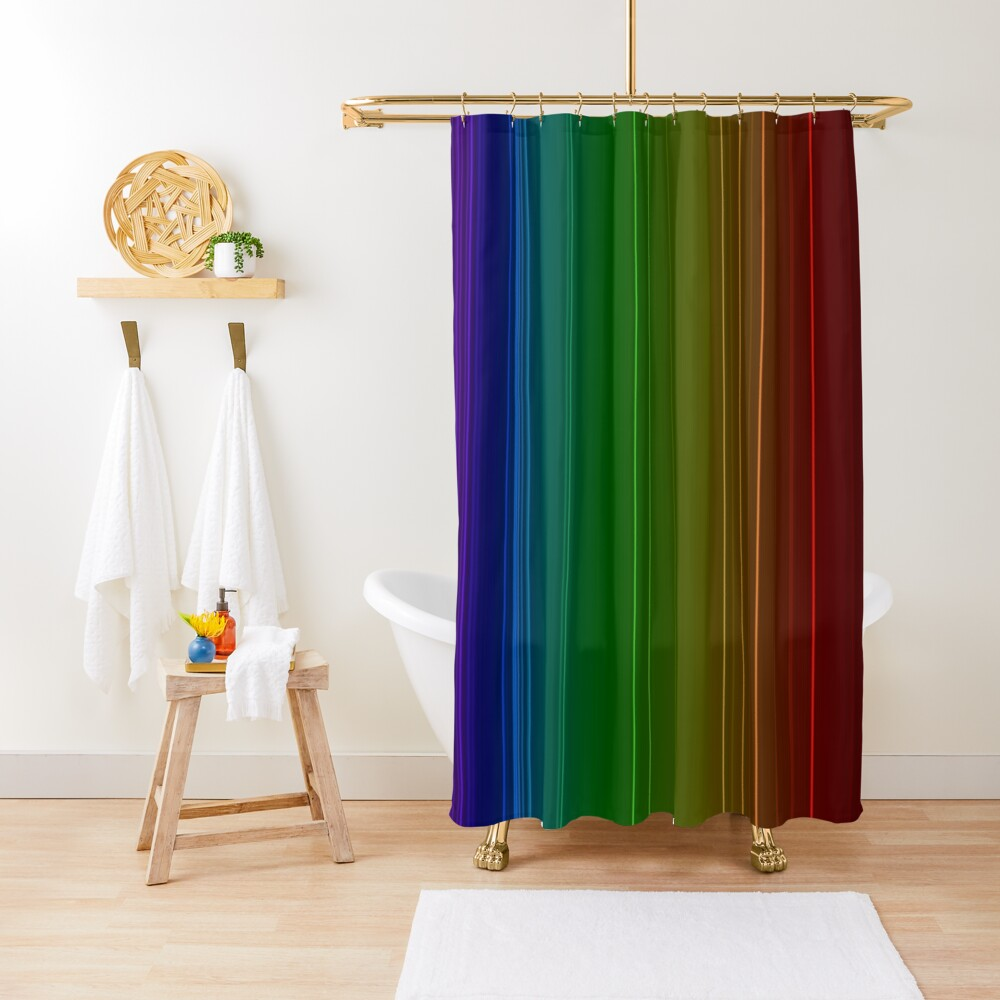 Emission spectrum of oxygen. When an electrical discharge is passed through a substance, its atoms and molecules absorb energy, which is reemitted as EM radiation Shower Curtain