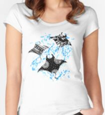 Patterned Ocean Manta Rays Women's Fitted Scoop T-Shirt