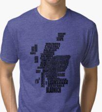 Distillery Map of Scotland Black Tri-blend T-Shirt