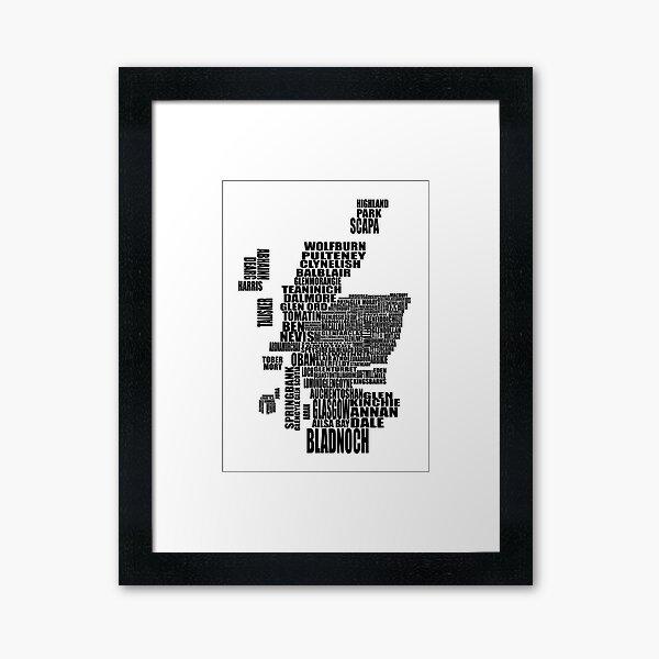 Carte de distillerie d'Écosse noire Impression encadrée