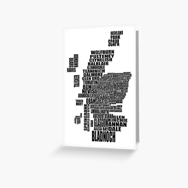Distillery Map of Scotland Black Greeting Card