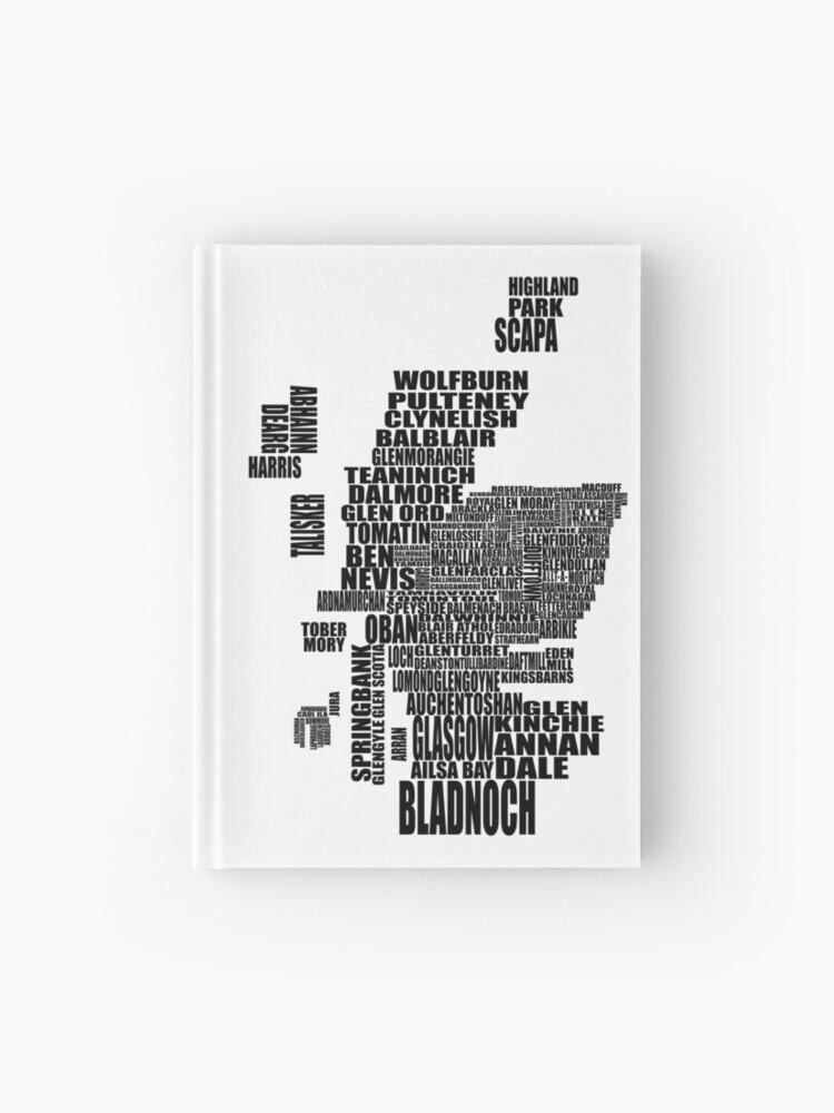 Schottland Karte Whisky.Brennerei Karte Von Schottland Black Notizbuch