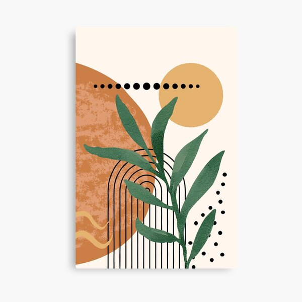 Green Minimalist Eucalyptus Twig Branch Abstract Watercolor Tropical Boho geometry Art warm earthy tones pastel colors solid soft gradient shapes arc faded orange sun Canvas Print