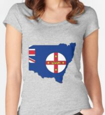 New South Wales Australia Map With Flag Women's Fitted Scoop T-Shirt