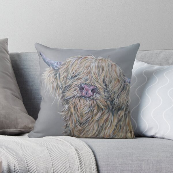 Goldilochs. Highland cow, hairy cow, Heilan Scottish coo art by award-winning UK artist Sam Fenner Throw Pillow