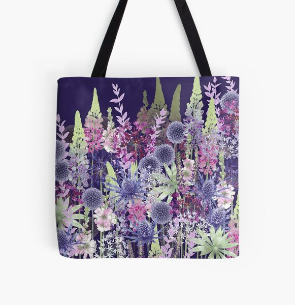 Flower Meadow - Echinops, Lupins, Sea Holly, Alliums, Sidalcea All Over Print Tote Bag