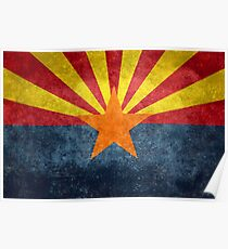 State flag of Arizona, with vintage retro style treatment Poster
