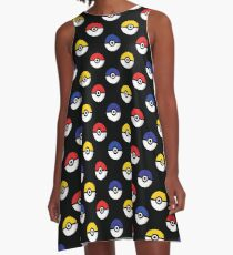Team Poke Ball Pattern - Black A-Line Dress