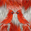 Redbirds facing each other by little1sandra