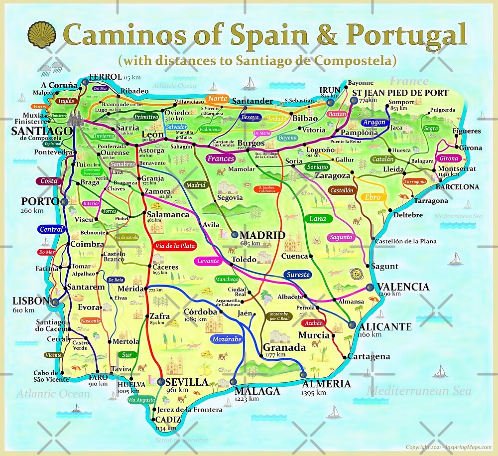 The Camino de Santiago Map of Spain & Portugal by Anthony Page