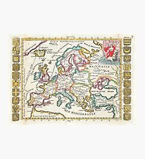 Vintage Map of Europe (1706) Photographic Print