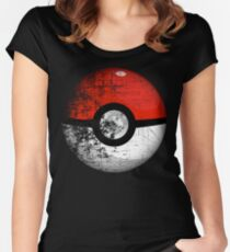 Destroyed Pokemon Go Team Red Pokeball Women's Fitted Scoop T-Shirt