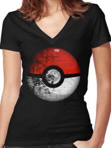 Destroyed Pokemon Go Team Red Pokeball Women's Fitted V-Neck T-Shirt