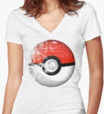 Destroyed Pokemon Go Team Red Pokeball Women's Fitted V-Neck T-Shirt
