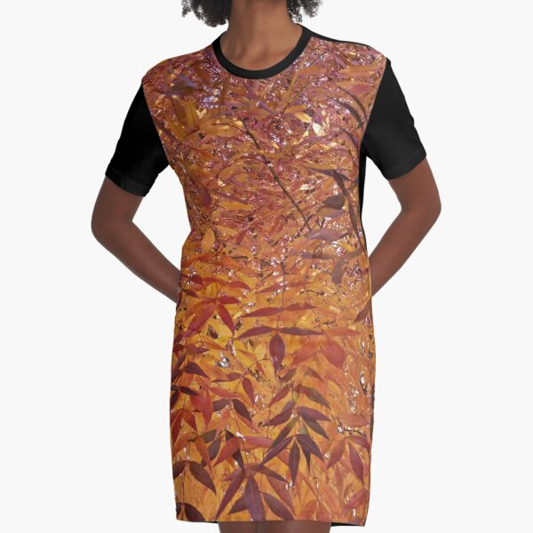 Beautiful autumn leaves in red, yellow and orange tones Graphic T-Shirt Dress