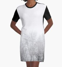 Park During Heavy Snowfall In Winter In Bucharest, Romania Graphic T-Shirt Dress