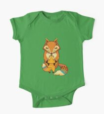 Mom and Baby Fox together One Piece - Short Sleeve