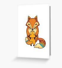Mom and Baby Fox together Greeting Card