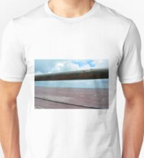 Detail of wooden table against the sky. T-Shirt