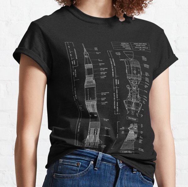 Saturn V / Apollo Crewed Lunar Expedition (White Stencil - No Background. Vertical) Classic T-Shirt