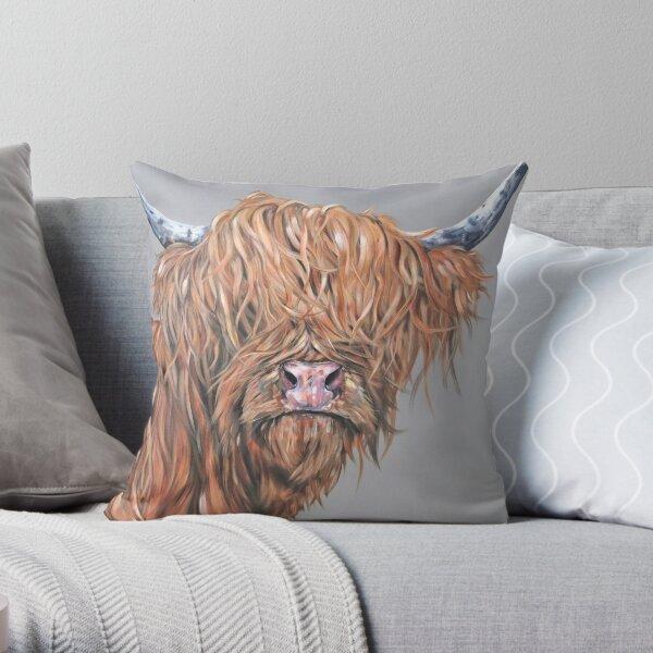 Fred McRed. Highland cow, Heilan Scottish coo art by award-winning UK artist Sam Fenner Throw Pillow