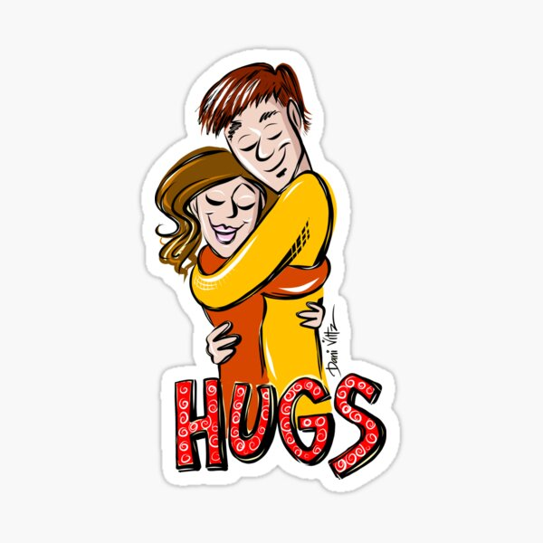 Two People hugging plus Hugs as text Sticker