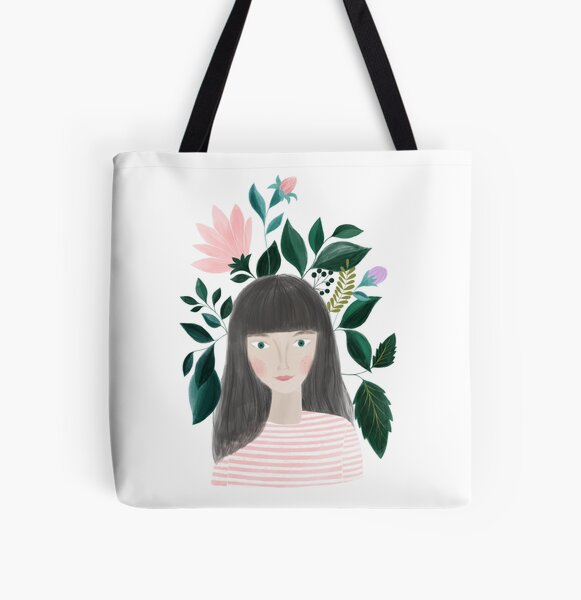 women with flowers portrait illustration All Over Print Tote Bag