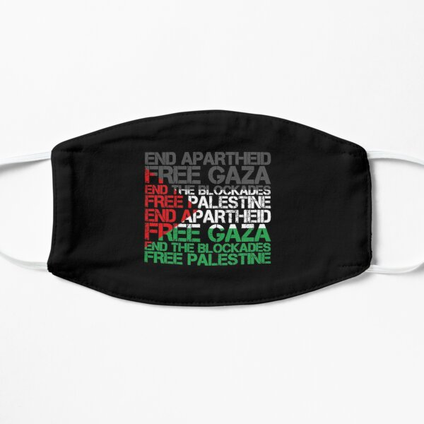 Palestine Flag Wordcloud - End Apartheid Free Flat Mask