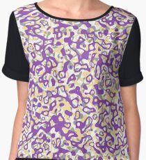 Multi Layer Abstract Pattern Purple/Grey/Cream Women's Chiffon Top