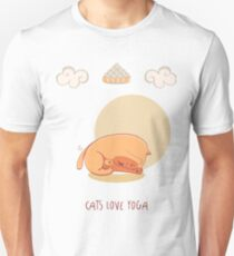 Red Yoga Cat in Head To Knee Forward Bend T-Shirt