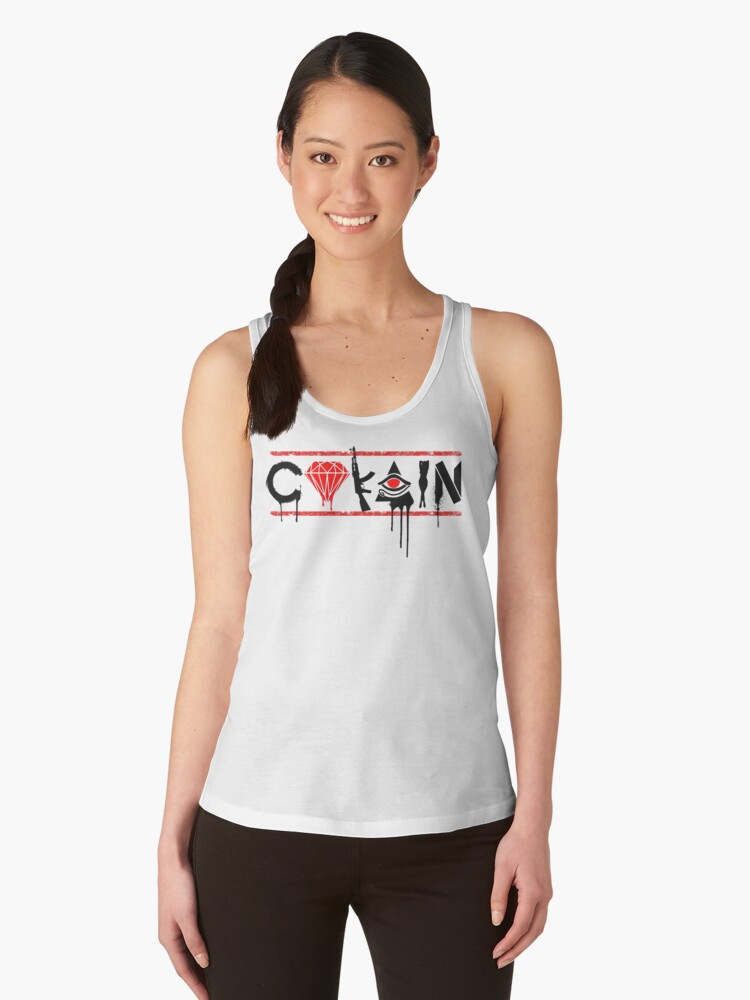 Racerback/Scoop/Tank Neck White & Red CoKain -LADIES by purecokain