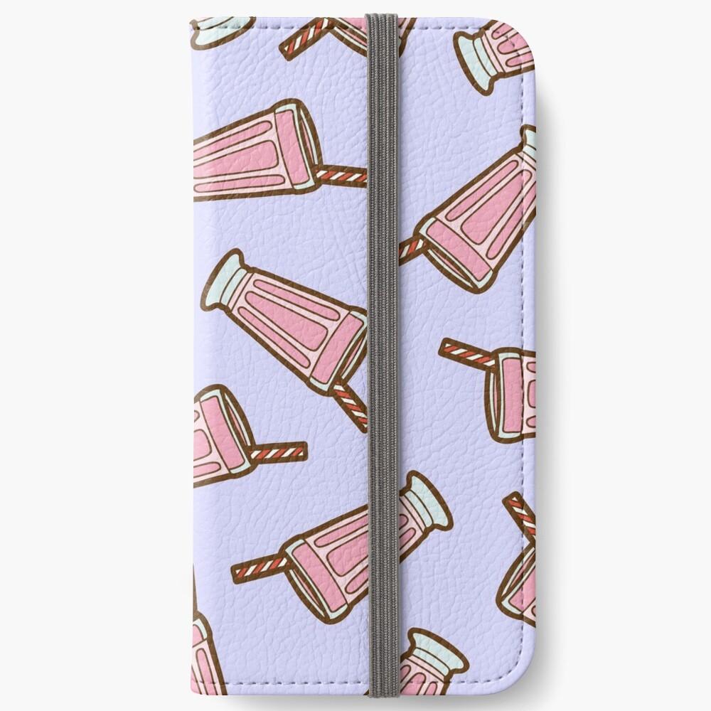 Strawberry Milkshake Pattern on Lilac iPhone Wallet
