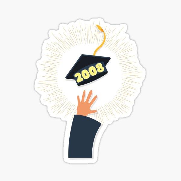 class of 2008 graduation cap, reunion design by Sticker