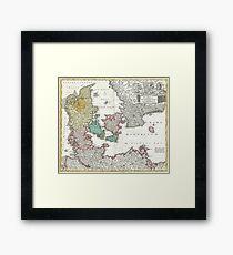 Vintage Map of Denmark (1730) Framed Print